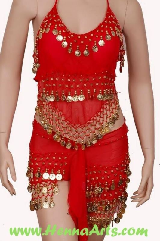 Belly dance scarves, tops, cymbals and headband
