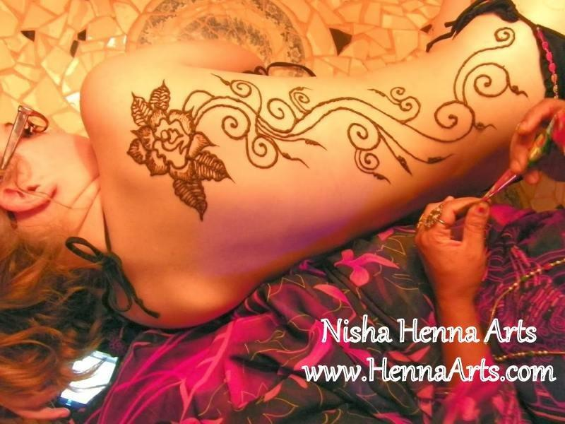 Henna design on various body parts