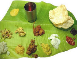 Banana leaf as food plate in India