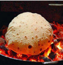 Roti in hot tandoor