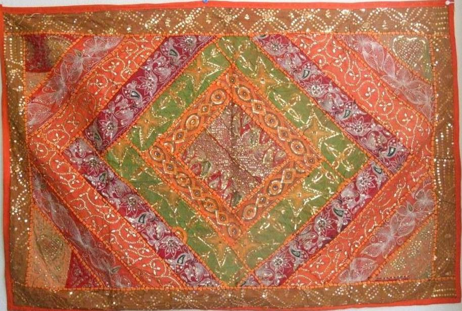 Colorful handmade tapestry or table runner from India